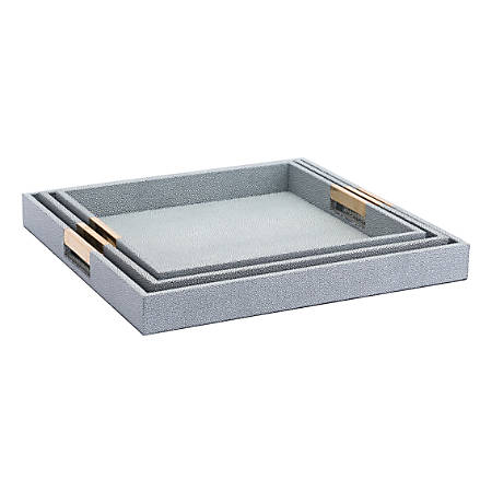 Zuo Modern Camba Lizard Skin Trays, Gray, Set Of 3 Trays