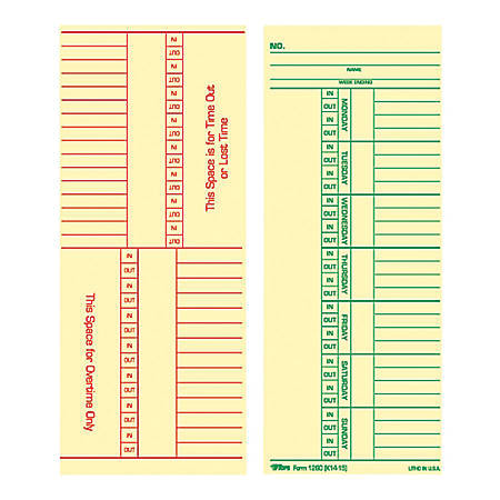 "TOPS® Time Cards (Replaces Original Card K14-15), Named Days, 2-Sided, 8 1/4"" x 3 3/8"", Box Of 500"