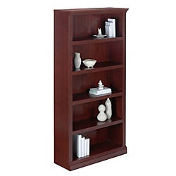 Realspace Premium Wide 5 Shelf Bookcase Classic Cherry By Office Depot OfficeMax