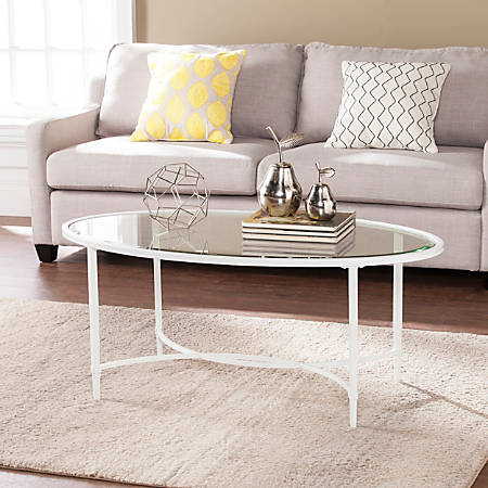Southern Enterprises Quinton Metal/Glass Cocktail Table, Oval, Clear/White