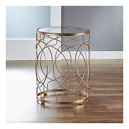 FirsTime & Co.® Loop Side Table, Round, Clear/Antique Gold