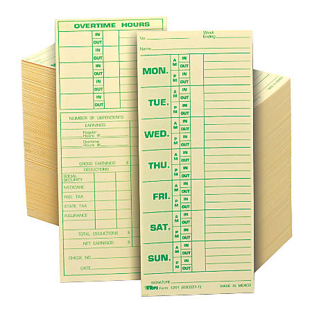 "TOPS® Time Cards (Replaces Original Card 331-10), Named Days, 2-Sided, 8 1/2"" x 3 1/2"", Box Of 500"