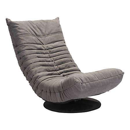 Zuo Modern Down Low Swivel Chair, Gray/Black