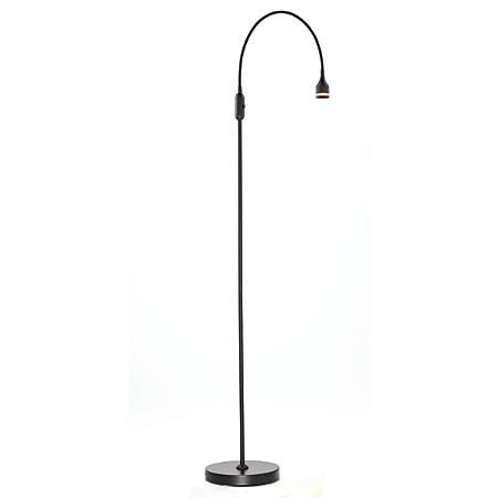 "Adesso® Prospect LED Floor Lamp, 56""H, Black Shade, Black Base"