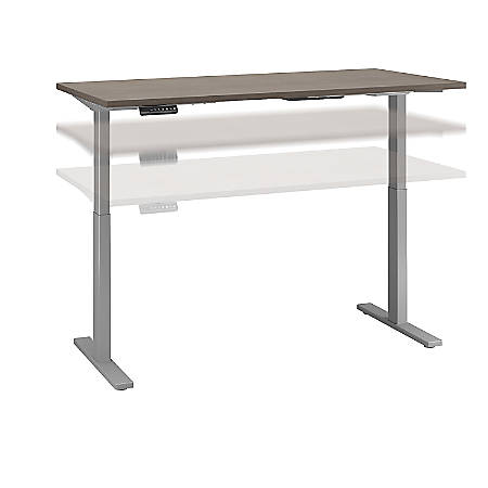 "Bush Business Furniture Move 60 Series 60""W x 30""D Height Adjustable Standing Desk, Cocoa/Cool Gray Metallic, Standard Delivery"