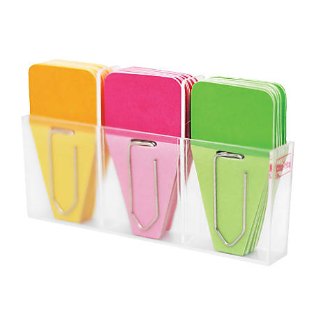"Clip-rite™ Clip-Tabs, 1 1/4"", Green/Orange/Pink, 24 Clip-Tabs Per Pack, Set Of 6"