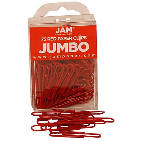 "JAM Paper® Paper Clips, Jumbo, 2"", 25-Sheet Capacity, Red, Pack Of 75"