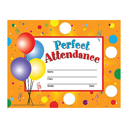 "Hayes Publishing Stick-To-It Perfect Attendance Certificates And Reward Seals, 8 1/2"" x 11"", Multicolor, Pre-K - Grade 12, Pack Of 30 Certificates And 160 Reward Seals"
