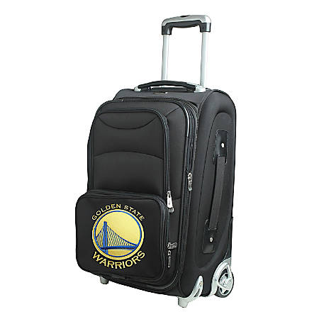 """Denco Nylon Expandable Upright Rolling Carry-On Luggage, 21""""H x 13""""W x 9""""D, Golden State Warriors, Black"""