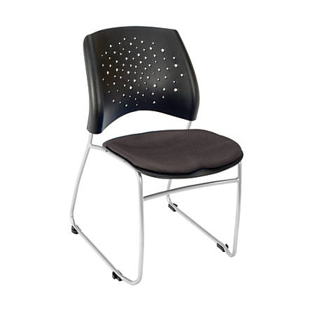 """OFM Stars Series Stack Chair, Fabric, 32 1/4""""H x 21 3/4""""W x 23""""D, Slate Gray/Gray, Set Of 4"""