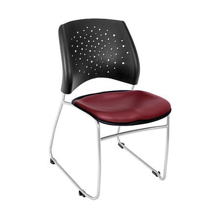 "OFM Stars Series Stack Chair, Vinyl, 32 1/4""H x 21 3/4""W x 22""D, Burgundy/Gray, Set Of 4"