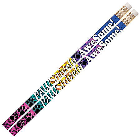 Musgrave Pencil Co. Motivational Pencils, 2.11 mm, #2 Lead, Pawsitively Awesome, Multicolor, Pack Of 144