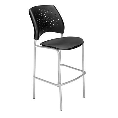 "OFM Stars Café Height Chair, Fabric, 45 3/4""H x 21 1/2""W x 23""D, Slate Gray/Silver"