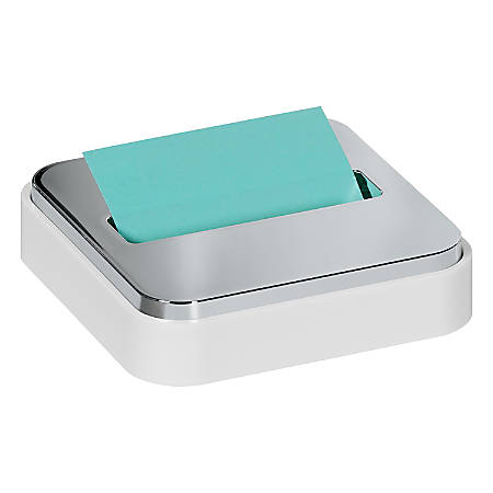 "Post-it® Notes Steel-Top Pop-Up Note Dispenser, 4 1/4""H x 4 1/4""W x 1 3/16""D, White"