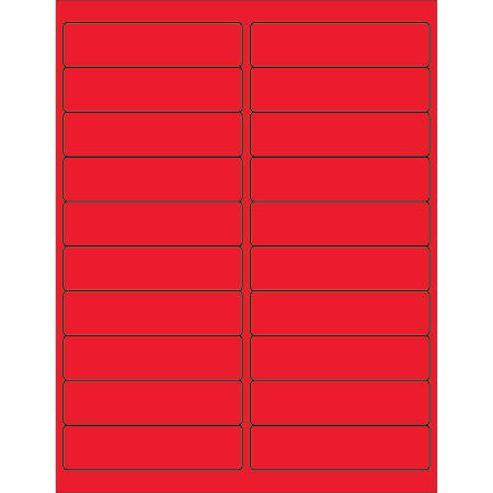 "Office Depot® Brand Labels, LL177RD, Rectangle, 4"" x 1"", Fluorescent Red, Case Of 2,000"
