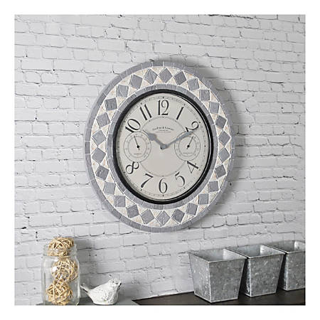 FirsTime & Co.® Patio Pavers Outdoor Wall Clock, Gray Slate