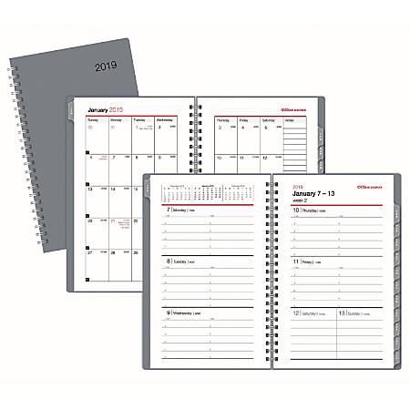 """Office Depot® Brand Weekly/Monthly Planner, 4"""" x 6"""", Silver, January To December 2019"""