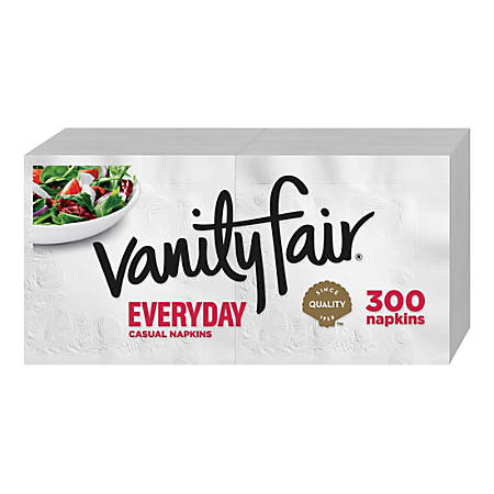 """Vanity Fair VanityFair Everyday Napkins - 2 Ply - 13"""" x 12.75"""" - White - Paper - Soft, Strong, Absorbent, Textured - For Breakfast, Dinner - 300 Quantity Per Pack - 2400 / Carton"""