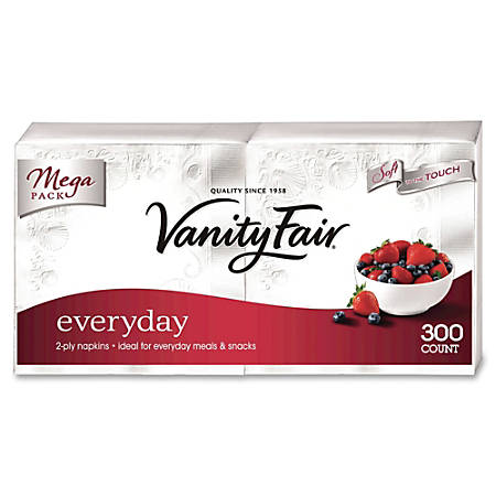 "Vanity Fair VanityFair Everyday Napkins - 2 Ply - 13"" x 12.75"" - White - Paper - Soft, Strong, Absorbent, Textured - For Breakfast, Dinner - 300 Quantity Per Pack - 2400 / Carton"