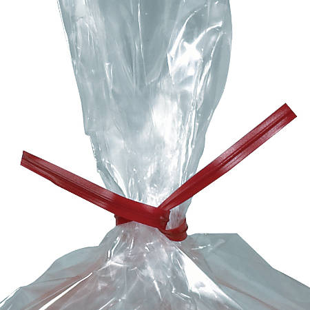 """Plastic Ties For Poly Bags, 3/16"""" x 5"""", Red, Box Of 2,000"""