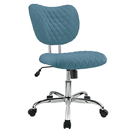 Brenton Studio® Jancy Quilted Fabric Low-Back Task Chair, Blue