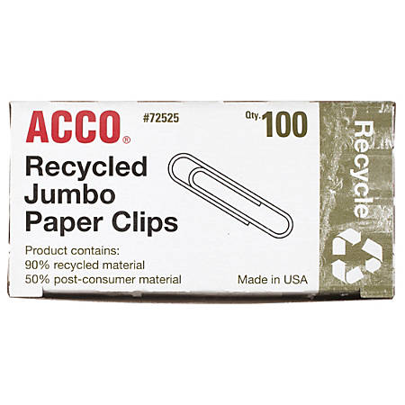 ACCO® Recycled Paper Clips, Smooth Finish, Jumbo, Silver, Box Of 100