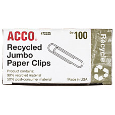 ACCO Recycled Paper Clips Smooth Finish