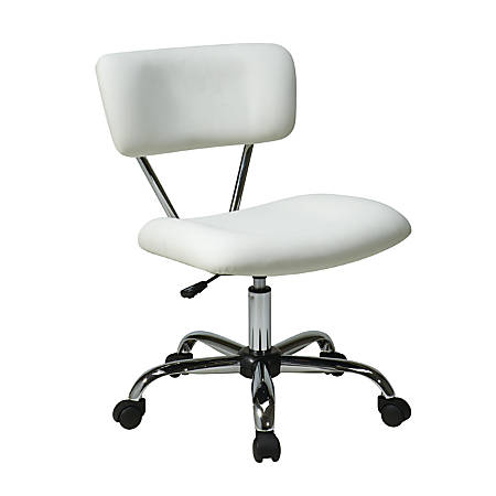 Office Star™ Avenue Six® Vista Task Chair, Vinyl, White/Silver
