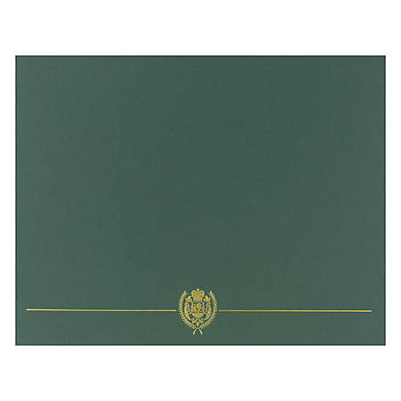 "Great Papers! Classic Certificate Covers, 12"" x 9 3/8"", Hunter Green, Pack Of 5"