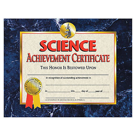 "Flipside Science Achievement Certificate - 11"" x 8.50"" - Laser Compatible - Assorted30 / Pack"