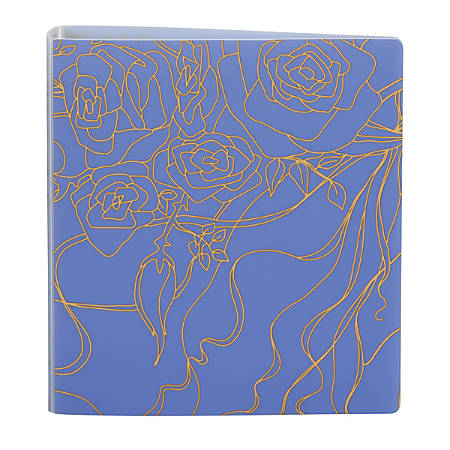 """Office Depot® Brand EverBind™ D-Ring View Binder, 1 1/2"""" Rings, Flowery Doodle"""