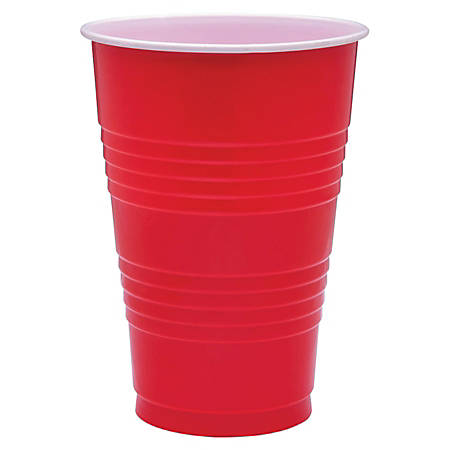Genuine Joe Plastic Party Cups, 16 Oz, Red, Pack Of 50