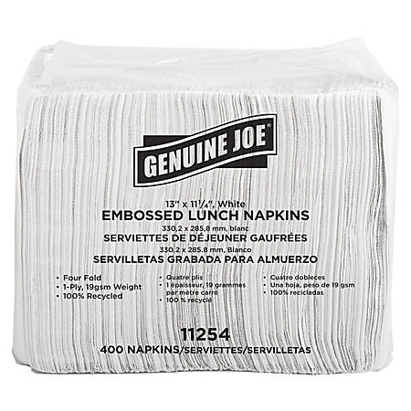 """Genuine Joe 2-Ply Luncheon Napkins, 13"""" x 11 1/4"""", 100% Recycled, White, 400 Per Pack, Carton Of 6 Packs"""