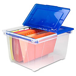 """Storex Stackable Heavy-duty File Tote - External Dimensions: 15.6"""" Width x 19.3"""" Depth x 10.9""""Height - 50 lb - Media Size Supported: Letter, Legal - Flip Top Closure - Heavy Duty - Stackable - Plastic - Clear Blue - For File Folder, Letter, Document, File, Box File - 1 Each Item# 498572 at Office Depot in Cypress, TX 