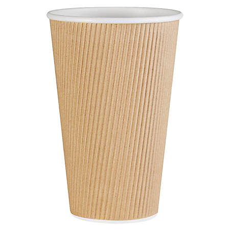 Genuine Joe Ripple Hot Cups, 16 Oz, Brown, Pack Of 500