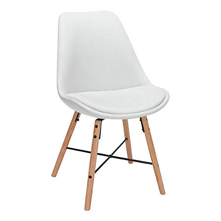 OFM 161 Collection Mid-Century Modern Dining Chairs, Light Gray, Set Of 2 Chairs