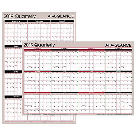 """AT-A-GLANCE® Vertical/Horizontal Erasable Yearly Wall Calendar, 36"""" x 24"""", January to December 2019"""