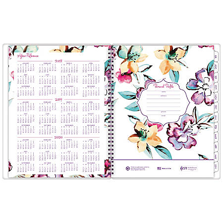 "AT-A-GLANCE® June Academic Monthly Planner, 8 1/2"" x 11"", 30% Recycled, Purple/Teal/Pink, July 2018 to June 2019"