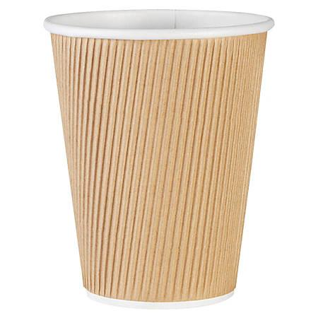 Genuine Joe Ripple Hot Cups, 12 Oz, Brown, Pack Of 25