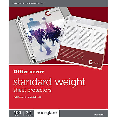 Office Depot® Top-Loading Sheet Protectors, Standard Weight, Non-Glare, Box Of 100