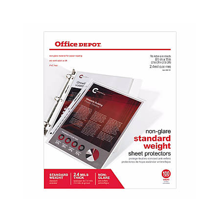 Office Depot® Brand Top-Loading Sheet Protectors, Standard Weight, Non-Glare, Box Of 100
