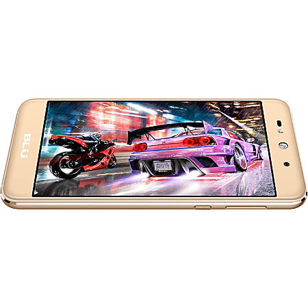 "BLU GRAND MAX G110Q 8 GB Smartphone - 5"" HD - 1 GB RAM - Android 6.0 Marshmallow - 3G - Gold - Bar MT6580 Quad-core (4 Core) 1.30 GHz - 2 SIM Support - 64 GB microSD Support SIM-free - 8 Megapixel Rear Camera - 1 Day Talk Time - 700 Hour Standby Time"