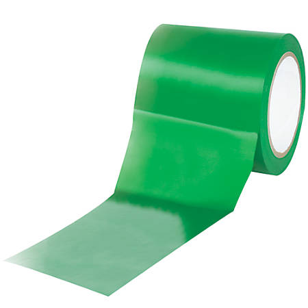 "BOX Packaging Solid Vinyl Safety Tape, 3"" Core, 4"" x 36 Yd., Green, Case Of 3"