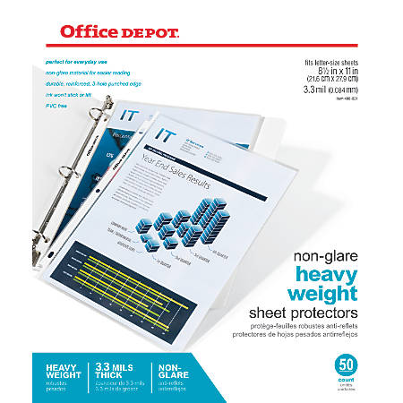 Office Depot® Brand Top-Loading Sheet Protectors, Heavyweight, Non-Glare, Box Of 50