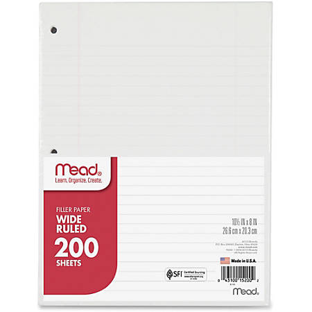 """Mead® Notebook Filler Paper, Wide-Ruled, 8"""" x 10 1/2"""", 3-Hole Punched, White, Pack Of 200 Sheets"""