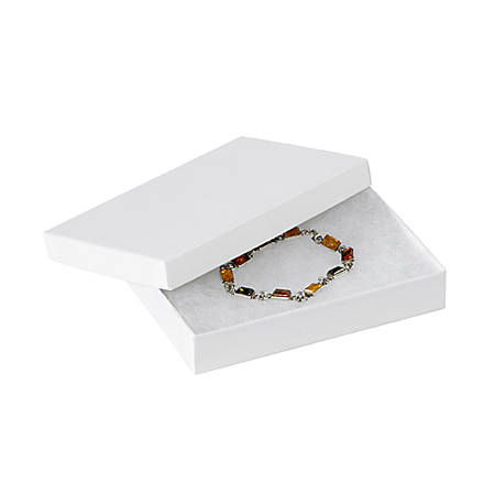 "Partners Brand White Jewelry Boxes 5 1/4"" x 3 3/4"" x 7/8"", Case of 100"