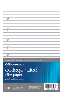 Office Depot® Brand College-Ruled Notebook Filler Paper, 7-Hole Punched, 8  1/2