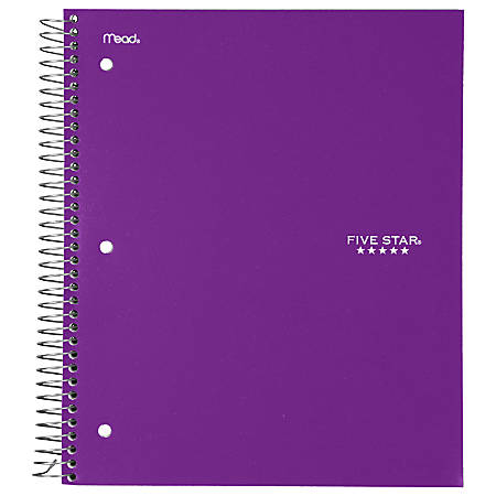 "Five Star® Notebook, 8 1/2"" x 11"", 3 Subjects, College Ruled, 150 Sheets, Assorted Colors (No Color Choice)"