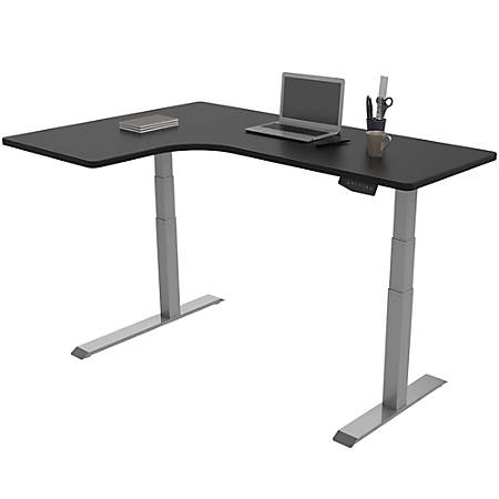 Loctek Height Adjustable Corner Desk Left Handed Silver Black