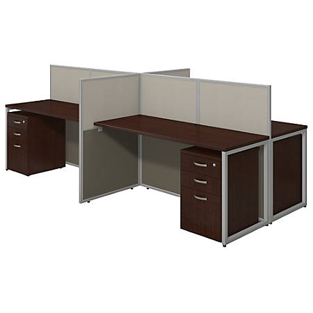"""Bush® Business Furniture Easy Office 4-Person Straight Desk Open Office With Four 3-Drawer Mobile Pedestals, 44 7/8""""H x 60 1/25""""W x 119 9/100""""D, Mocha Cherry, Premium Delivery"""